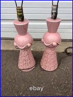 Vintage Mid Century Modern Pair Of Pink And Gold Ceramic Table Lamps Atomic MCM
