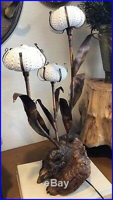 Vintage Mid Century Modern Sea Urchin Table Lamp Attributed To Curtis Jere MCM