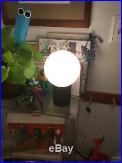 Vintage Mid-Century Modern Space Age Black Acrylic Plastic Globe Table Lamp Ligh