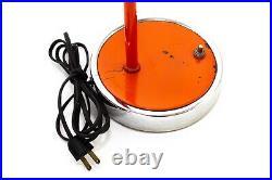 Vintage Mid Century Modern Space Age Orange Arc Table Desk Lamp Mushroom Design
