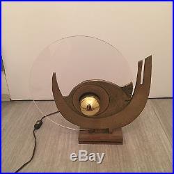 Vintage Mid Century Modern Table Lamp Bronze Acrylic Brutalist Calonaci 60's 70s