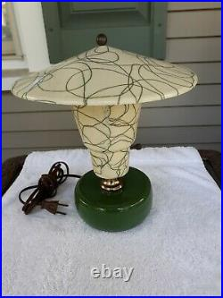 Vintage Mid Century Modern Table Lamp Retro With Original Fiberglass Shade Mint