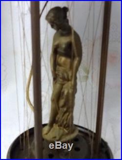 Vintage Mid Century Oil Rain Table Hanging Lamp Light Pillar Nude Lady Goddess
