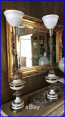 Vintage Mid-Century Pair Of Stiffel Table Lamps Brass Enamel -Torch 3-Way 39