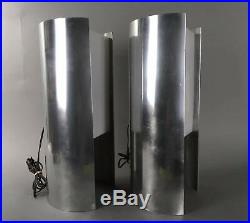 Vintage Mid Century Paul Mayen Aluminum Habitat Modern Table Lamp Pair
