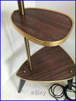 Vintage Mid Century Plant Telephone Table With Lamp 50s