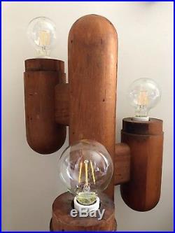 Vintage Mid-century Modeline wood cactus lamp