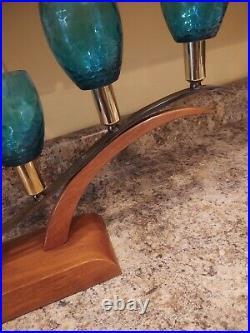 Vintage Mid-century Modern 5 Light sofa table Lamp wood Nice