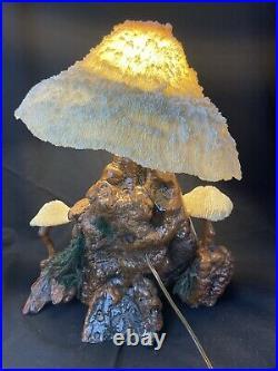 Vintage Mid-century Modern Magic Mushroom Lamp Coral Shade Wood Psychedelic BOHO