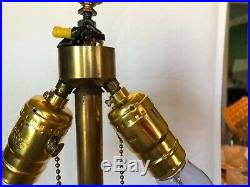 Vintage Miller Slag Lamp #1088 6 Panel Shade, 6 Sided post Rewired For Safety