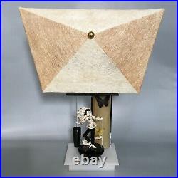 Vintage Moss lamp withnew shade mid century Asian Lefton figurine 1950s fiberglass