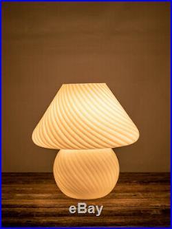 Vintage Murano Mushroom Lamp White Swirl Glass Paolo Venini 1970s MCM