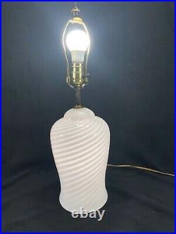 Vintage Murano Swirl Glass Table Lamp Vetri Italy