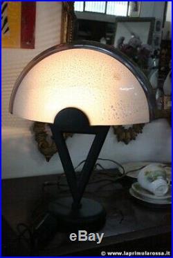 Vintage Murano glass retro italian table lamp white and black italia desk light