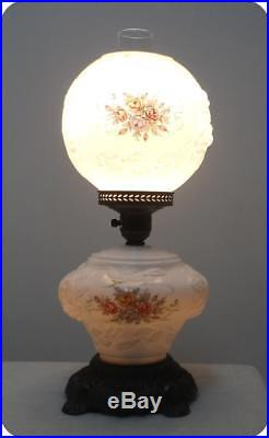 Vintage PRETTY WILD ROSE Hurricane Gone With The Wind Table Lamp