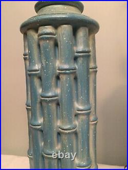 Vintage Pair Faux Bamboo Blue Plaster Table Lamps Hollywood Regency Mid Century