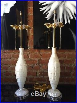 Vintage Pair Italian Murano Venetian Glass Table Lamp Bubbles White/Gold Barbini