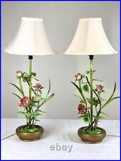 Vintage Pair Metal Table Lamps pink Roses Flowers leafs. Metal base. With shadow