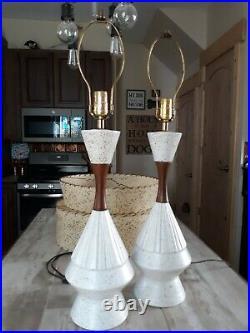 Vintage Pair Mid Century MCM ceramic Teak Table Lamps (No Shades)