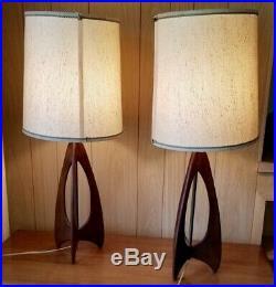 Vintage Pair Mid Century Modern Danish Table Lamps Wood Teak