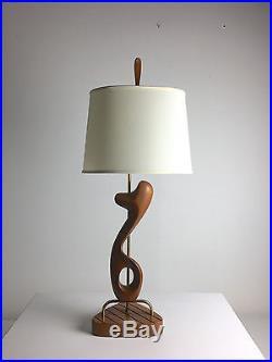 Vintage Pair Mid Century Modern Sculptural Walnut Table Lamps Modeline Heifetz