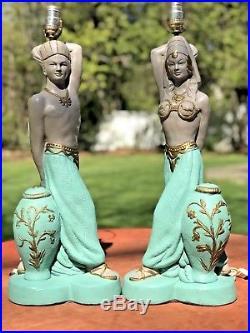 Vintage Pair Of Reglor Of California Genie Chalkware Lamps Mid Century