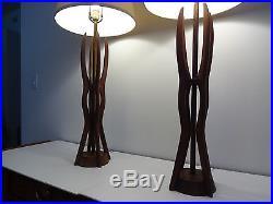 Vintage Pair Sculptural Mid Century Modern Danish Style Teak Wood Table Lamps