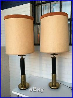 Vintage Pair Stiffel / Laurel Greek Key Hollywood Regency Lamps Mont Parzinger