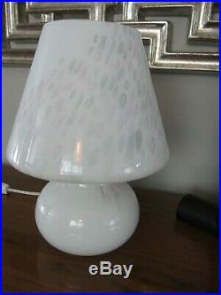 Vintage Pair Vetri Murano Glass White confetti Mushroom Italy Table Lamp 12