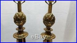 Vintage Pair of Brass Table Desk Lamp Light Hollywood Regency Metal Artichoke