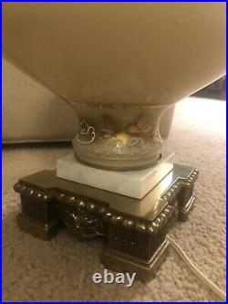 Vintage Pair of Hollywood Regency Lamps Brass Glass Gold & White Hand Painted