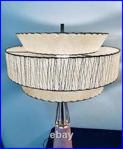 Vintage Pair of MCM Pink Ceramic Brass Atomic Hollywood Regency Starburst Lamps