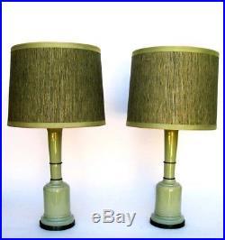 Vintage Pair of Mid Century Paul Hanson Apple Green Ceramic & Brass Trim Lamps