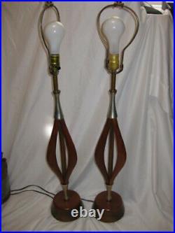 Vintage Pair of VH WOOLUMS Mid Century Modern Table Lamps Teak Wood Danish