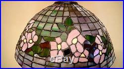 Vintage Pink vs. Mauve Lit/Unlit Slag Stained Glass Shade on Metal Base Lamp