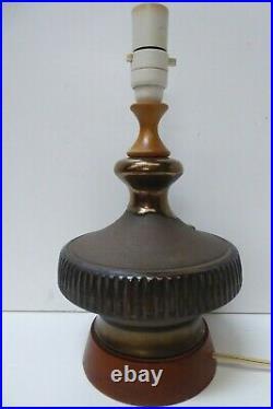 Vintage Pottery Ceramic Timber Lamp Base MID Century Lava Glaze Ellis Style