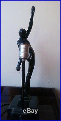 Vintage Rare SARSAPARILLA FRANKART Deco Metal Nude Nymph Female Figural Lamp