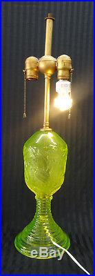 Vintage Rare Vaseline Uranium Glass Electric Table Lamp 24