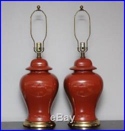 Vintage Red Porcelain Ginger Jar Lamps