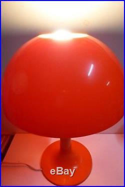 Vintage Retro MID Century Plastic Mushroom Table Lamp Bright Orange