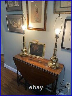 Vintage STIFFEL Table Lamps Gold Brass MCM Hollywood Regency Large 32