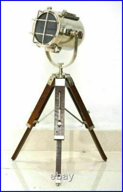 Vintage Search Light Table Spot Light With Wood Tripod Stand Nautical Home Decor