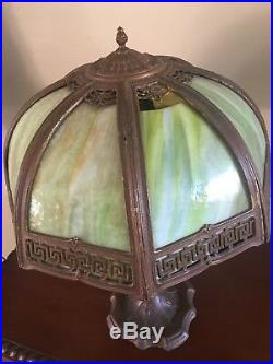 Vintage Slag Glass Lamp Greek Key 1920s Depression Era