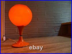Vintage Space Age Orange Table Lamp Mid Century Design Bedside Light Mushroom