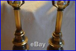 Vintage Stiffel Pillar Brass Table Lamps Pair MID Century Modern