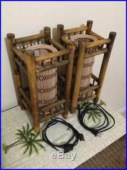 Vintage Tiki Lights Lamps Bamboo Wicker Rattan Table Nightstand Orchids Hawaii
