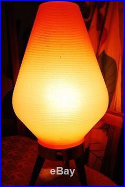 Vintage Tripod Beehive Lamp Tapered Wood Legs MID Century MCM Orange Plastic