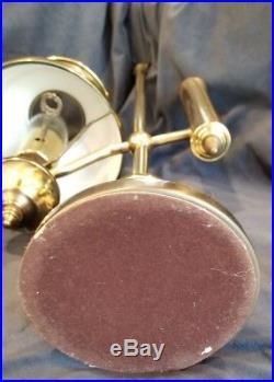Vintage Underwriters Laboratories Brass Student Lamp Green Tole Shade 22
