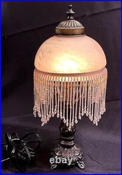 Vintage Underwriters Laboratories Pink Swirl Milk Glass Beaded Fringe Table Lamp
