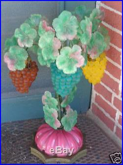 Vintage Venetian Murano Italian Art Glass Beaded Grape Fruit Lamp Czech Style